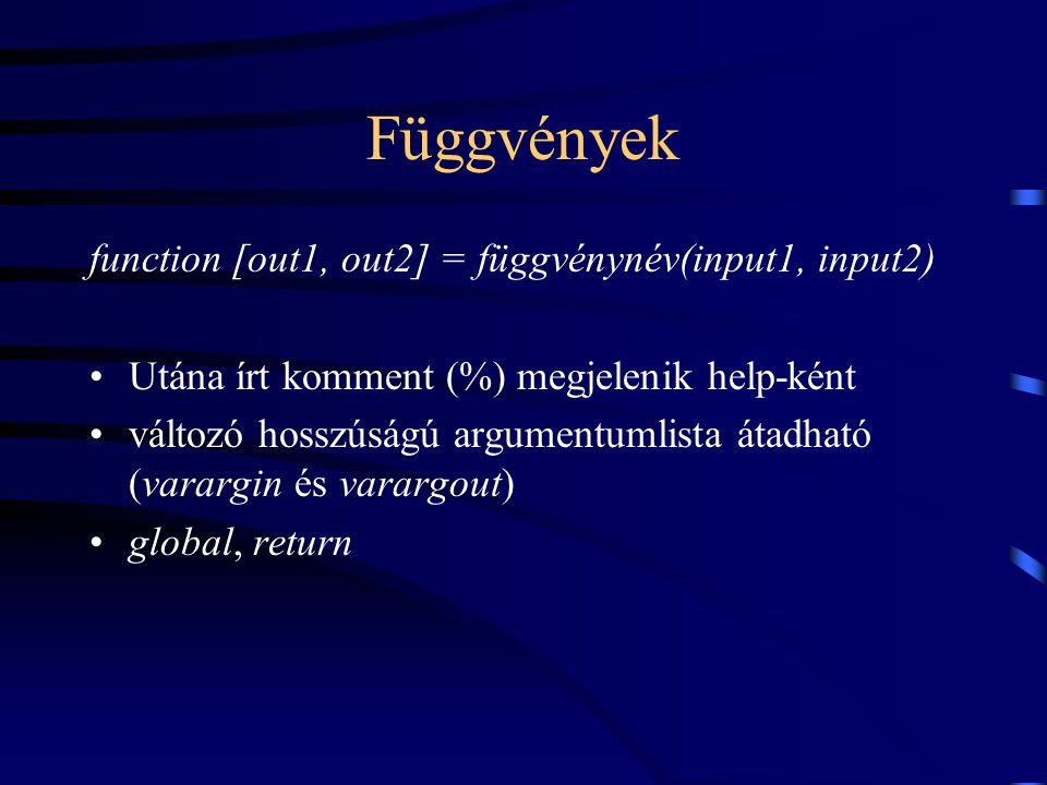 Függvények function [out1, out2] = függvénynév(input1, input2)